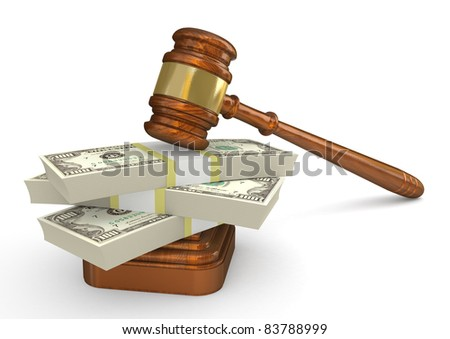 Gavel and money stack. High detailed 3d illustration
