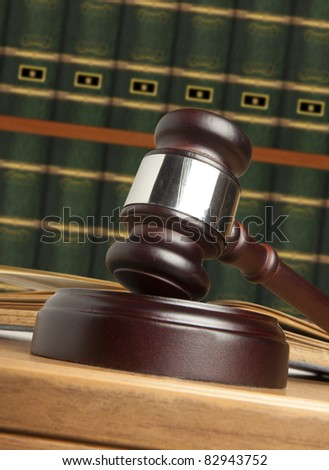 Gavel and old book