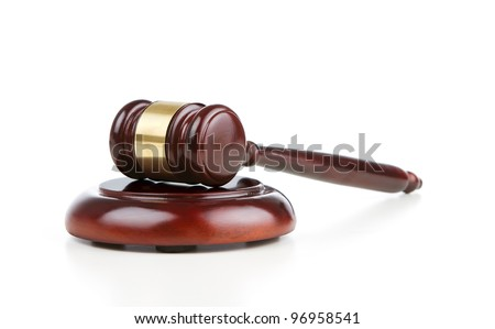 Gavel and sound block isolated on white background