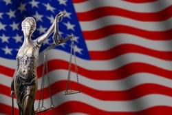 Gavel and USA flag, justice america law