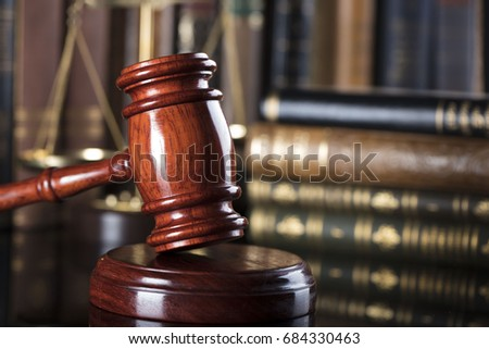 Gavel, books, scales. Law concept. Place for text.