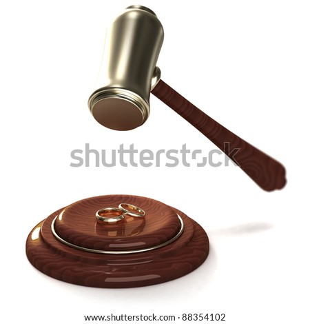 Gavel breaking golden rings as a divorce, on white