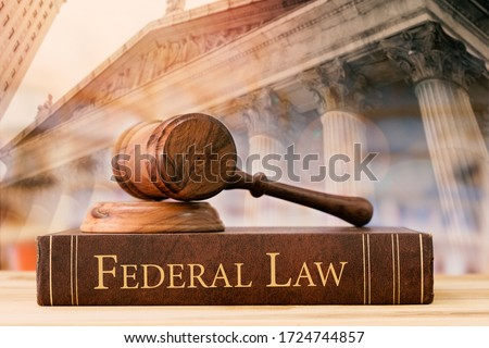 gavel judge with federal law books on desk of lawyer with court background. Сток-фото ©