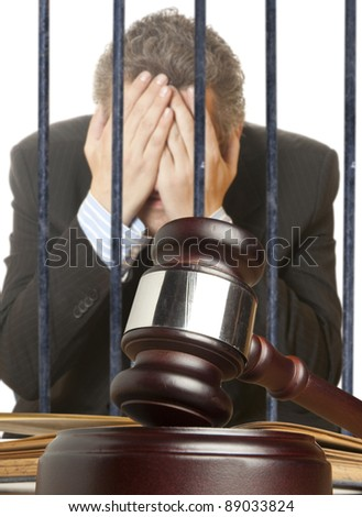 Gavel & male offender - stock photo