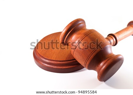 gavel of justice on a white background