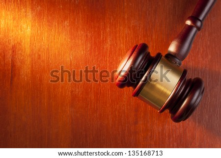 gavel on a brown gradient background