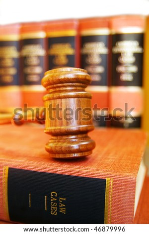gavel on law books