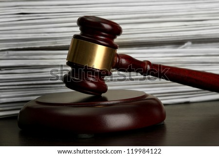 gavel on old papers background