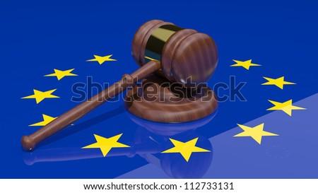 Gavel on the flag of Europe
