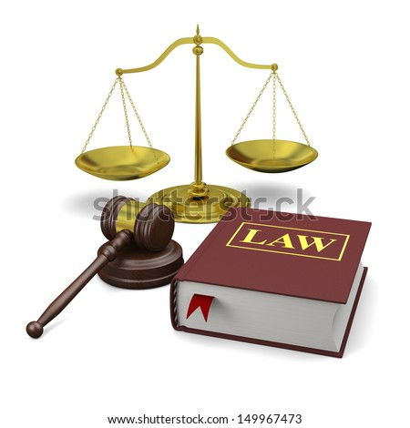 Gavel, scale and law book, isolated on white background, symbols of law and justice