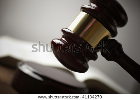 gavel, selective focus on metal part,toned f/x