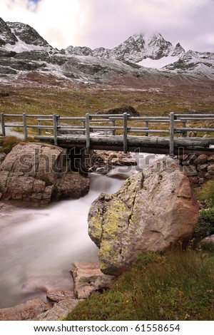Gavia Torrent at Gavia Pass, Brixia province, Lombardy region, Italy. 2651 meters on the sea-level