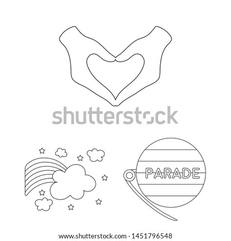 Gay and lesbian outline icons in set collection for design.Sexual minority and attributes bitmap symbol stock web illustration.