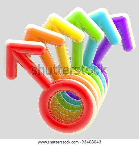 Gay community emblem made of rainbow colored male signs isolated on grey