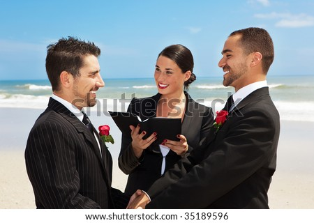 Gay couple getting married on a beach