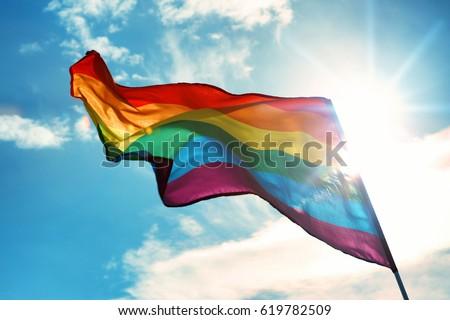 Gay flag on sky background Сток-фото ©