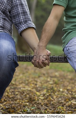 gay love on the bench.Autumn in the park - stock photo