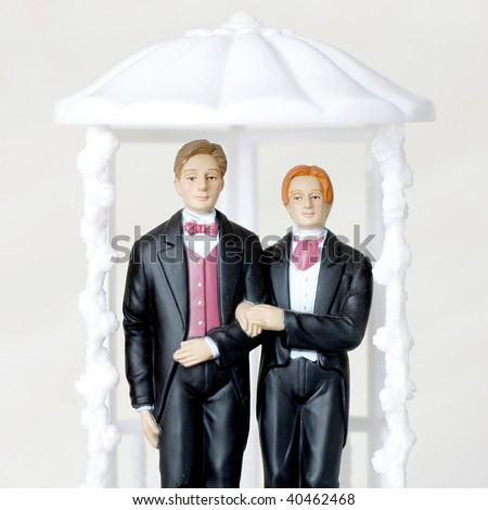Gay marriage illustrated with two male figures