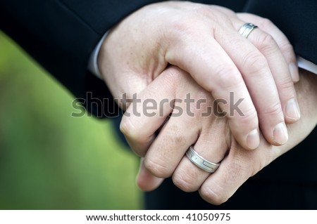 stock photo : Gay Men and their Wedding Rings