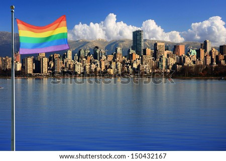Gay pride flag in beautiful city of Vancouver, Canada.