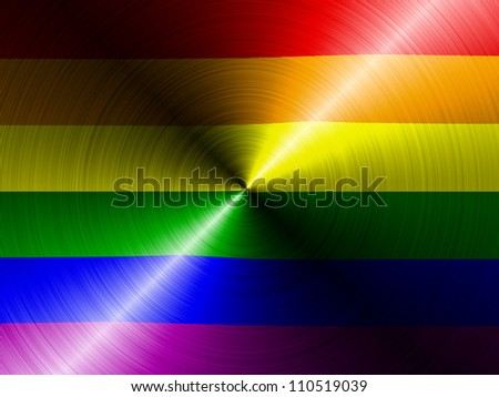 Gay pride flag painted on brushed metall