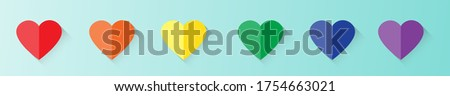 Gay Pride LBGT, LBGTQ, LBGTQ+ concept. Red orange yellow green blue and violet flat style hearts banner. Color sign for gay, lesbian, homosexual, bisexual, transgender human.