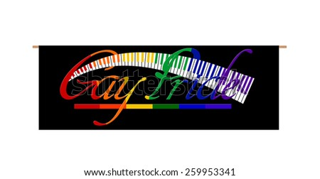 Gay Pride Rainbow Banner wood handles Keyboard isolated on white background