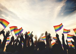 Gay Rainbow Flag Crowd Celebration Arms Raised Concept