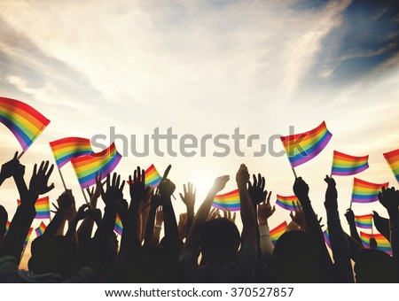 Gay Rainbow Flag Crowd Celebration Arms Raised Concept Stockfoto ©