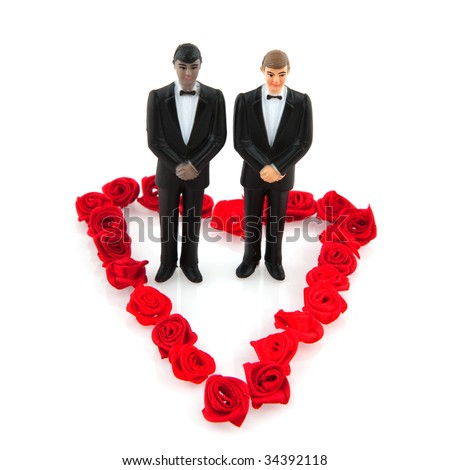 Gay wedding with couple in red flower heart