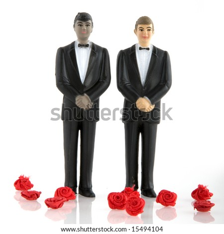 Gay wedding with man in tuxedo