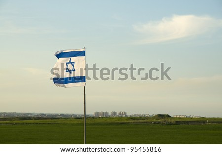 Gaza strip with Israeli flag