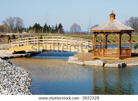 Gazebo And A Bridge Over A Small Pond, In The Heart Of Niagara ...