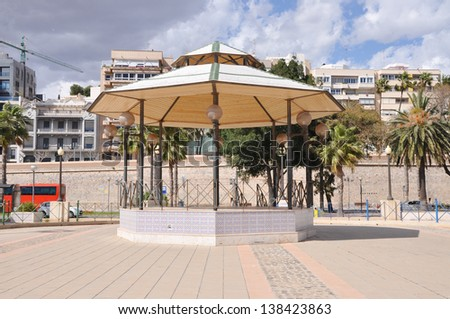 Gazebo at Cartagena Boat Harbor a major tourist attraction in the province of Murcia Spain Europe