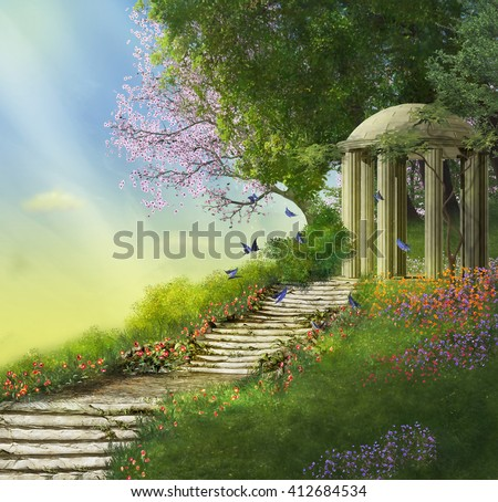 Stock Photo gazebo at the top of a hill with a stone stair and flowers