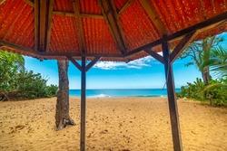 Gazebo in beautiful La Perle beach in Guadeloupe, Caribbean sea