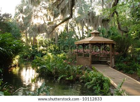 Papillote Tropical Gardens Gazebo in Lush Tropical Garden