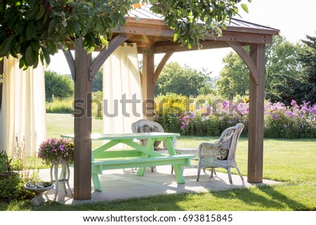 Gazebo in summer backyard very beatuful and cozy. Pergola