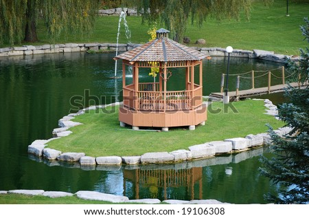 Gazebo On Island In A Pond Stock Photo 19106308 : Shutterstock