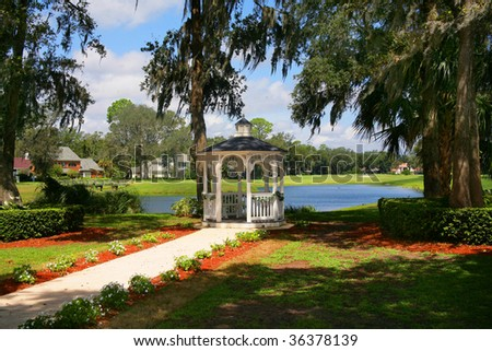 Gazebo Overlooking Pond Stock Photo 36378139 : Shutterstock
