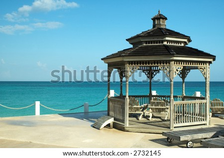 Gazebo with beautiful ocean view on a sunny day