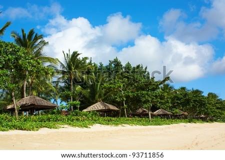 Gazebos at a tropical resort