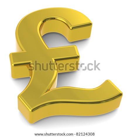 GBP. 3D British Pound symbol. Gold