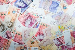 GBP money bill close up finance background, Business concept