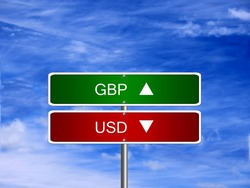 GBP USD symbol icon up down currency forex sign.