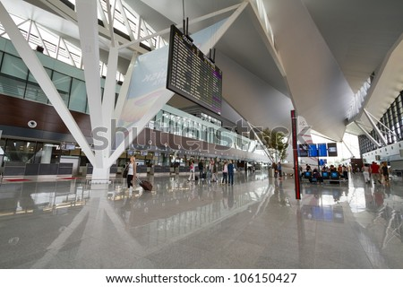 GDANSK AIRPORT, POLAND - JUN 17: Interior of new modern terminal at Lech Walesa Airport in Gdansk on Jun. 17, 2012. The terminal was build for soccer Euro Cup 2012.