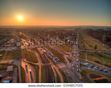 gdansk armii krajowej street from above Zdjęcia stock ©