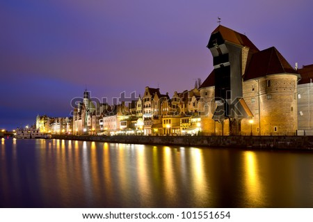 gdansk city riverside in poland at night