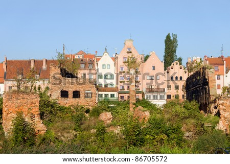 Gdansk (Danzig) in Poland, on the first plan part of the city destroyed during Second World War, Old Town in the background