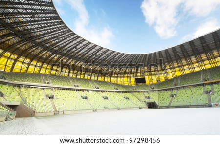 GDANSK, POLAND - FEBRUARY 7: Newly built PGE Arena stadium for 43,615 spectators. The stadium was built specifically for the Euro 2012 Championship. February 7, 2012 in Gdansk, Poland.